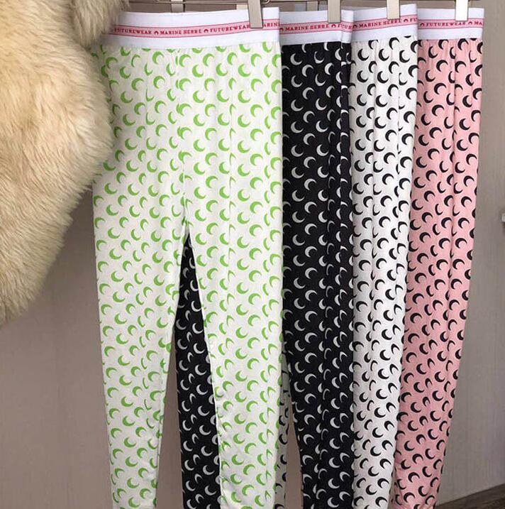 19SS New Multi-color Moon Print Leggings Seamless Women Leisure Sweatpants