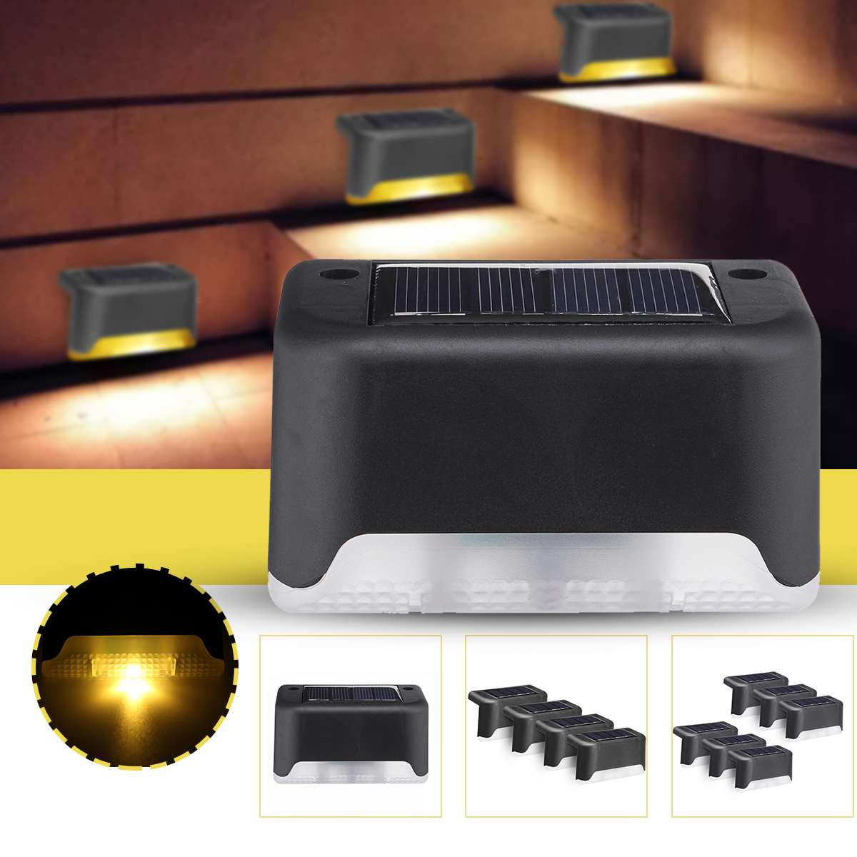 1/4/6PCS LED Solar Path Stair Outdoor Light Garden Yard Fence Wall Landscape Lamp Solar Light Outdoor Path Garden Nightlight