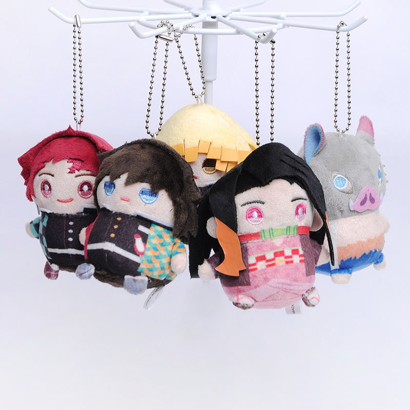 Anime Demon Slayer Kimetsu No Yaiba Printing Plush Pendant Toy Kamado Tanjirou Nezuko Plush Keychain Keyring Pendant Toy Gifts