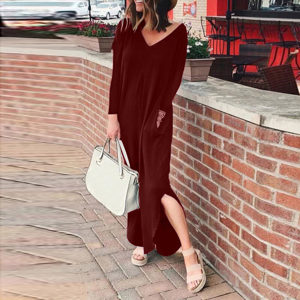 2020 Summer Vintage Dresses Women Long Dress Solid V Neck Long Sleeve Cotton Retro Maxi Dress Plus Size robe femme vestidos#J30