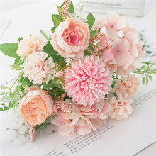 1 Bouquet 9 Heads Artificial Peony Flowers Artificial Silk Flowers Flores Plastic Branches For DIY Home Wedding Accessories plum cherry blossoms artificial silk flowers flores sakura tree branches home table living room decor diy wedding decoration 202