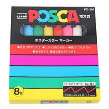 Uni mitsubishi Posca – marqueur de peinture, stylo à pointe Fine, 0.9-1.3mm, 8 couleurs/ensemble