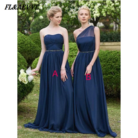 In Stock Navy Blue Bridesmaid Dresses One Shoulder Chiffon A Line Boat Line Lace Up Back Floor length Dress for Wedding Party