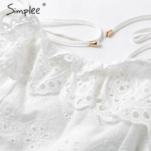 Image 5 - Simplee sexy com decote em v cinta de espaguete vestido feminino elegante dot print a line duas peças curto vestido de verão estilo lady midi
