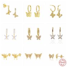 CANNER Luxury Bling Zircon Butterfly Korean Earrings For Women pendientes plata 925 Gold Color Crystal Mini Stud Earring Brincos