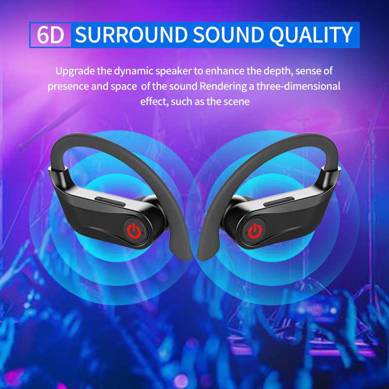 Hbq pro tws bluetooth 5.0 fone de ouvido estéreo sem fio gancho fones mini esporte à prova dportable água portátil 950 mah caso carregamento