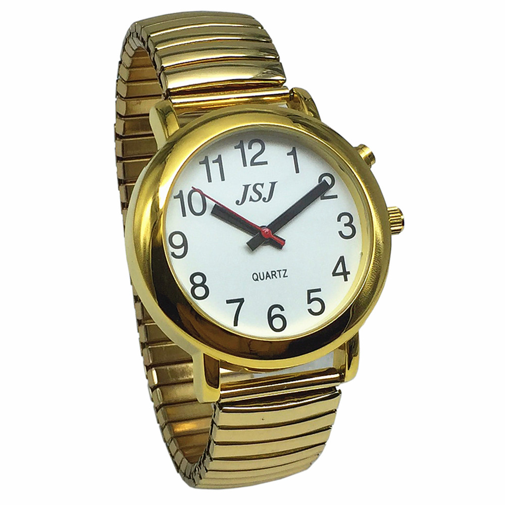 English Talking Watch With Alarm, Talking Date And Time, White Dial, Expanding Bracelet TA-G502