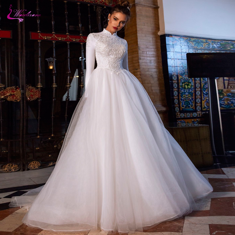 Waulizane New Arrival High Neck Of Satin A Line Muslim Wedding Dress With Full Sleeve Bridal Dress