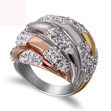 New three color plated argil finger ring high quality jewelry titanium steel casting crystal rings for women free shipping недорого