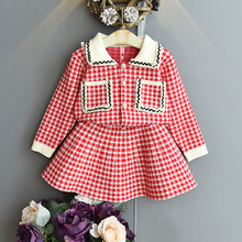 Autumn Winter Sport Baby Girl Clothes New Sweater Sets Children plaid Printing Knit Suit Girls Warm