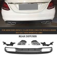 PP Auto Rear Diffuser With Exhaust Muffler For Mercedes Benz C Class W205 C200 C250 Sedan 4-Door 2015-2017 Non Sport/Non C63 AMG