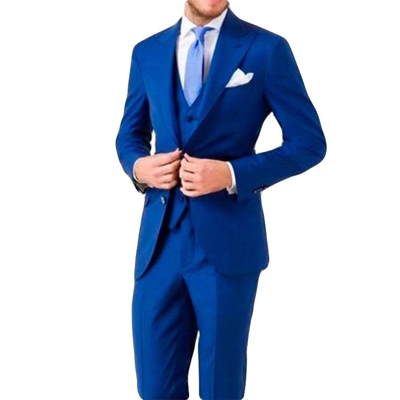 (Jacket Pants Vest )2019 Men Suits Custom Slim Fit 3 Piece Blazer Tailor Made Navy Wedding Suit Groom Groomman Prom Party Tuxedo