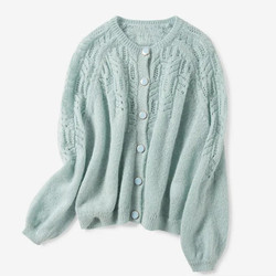 Женский ажурный вязаный кардиган с круглым вырезом, однобортный тонкий вязаный свитер, трикотажная куртка, модное пальто