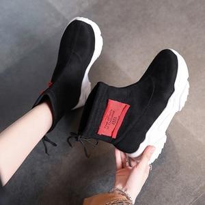 Image 5 - SWYIVY צאן פלטפורמת מגפי גבירותיי נעלי טריז אישה 2019 חדש סתיו מקרית קרסול מגפי נעלי נשים להחליק על נעליים שחורות
