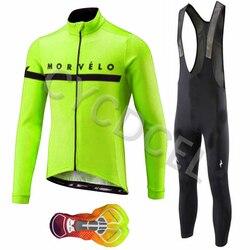 Morvelo 2020 Lente Fiets Kleding Fluorescenc Maillot Ropa Ciclismo Lange Mouwen Mannen Fiets Kleding-in Wielersport setjes van sport & Entertainment op