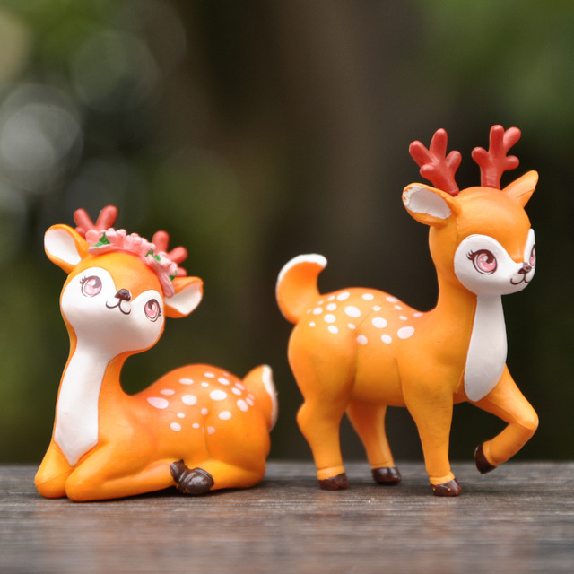 BAIFUOR 1 PC Forest Fairy Animal Sika Deer Fairy Garden Mini Figures Home Decoration Accessories Modern Christmas Gift Kid Toy 2