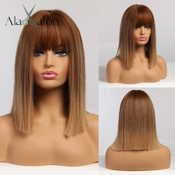 ALAN EATON Ombre Brown Golden Short Straight Hair Lolita Bobo Wigs with Bangs Synthetic Wigs For Women Cosplay Heat Resistant