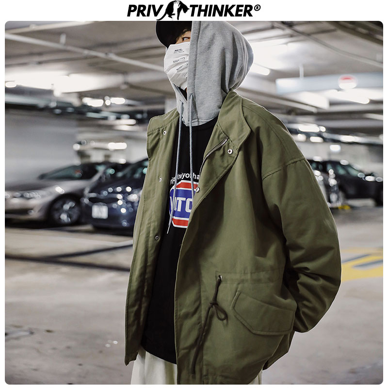 Privathinker 2019 Men Safari Style Big Pockets Jackets Mens Autumn Streetwear Hip Hop Clothes Male Casual Windbreak Coat Jacket