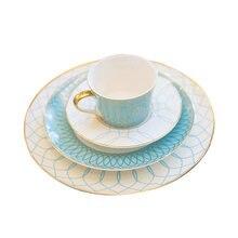 Европейская керамическая столовая тарелка с геометрическим рисунком