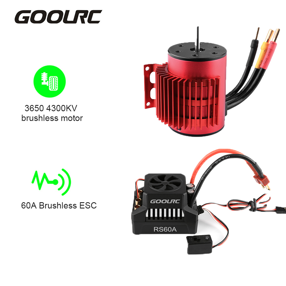 <font><b>GoolRC</b></font> <font><b>3650</b></font> 4300KV 3900KV Brushless Motor with Heat Sink 60A Brushless ESC 6V/3A BEC Combo for 1/10 RC Car Crawler Accessories image