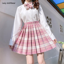 New Korean version of pleated skirt 2020 high waist summer women's skirt sexy plaid mini skirt dance skirt