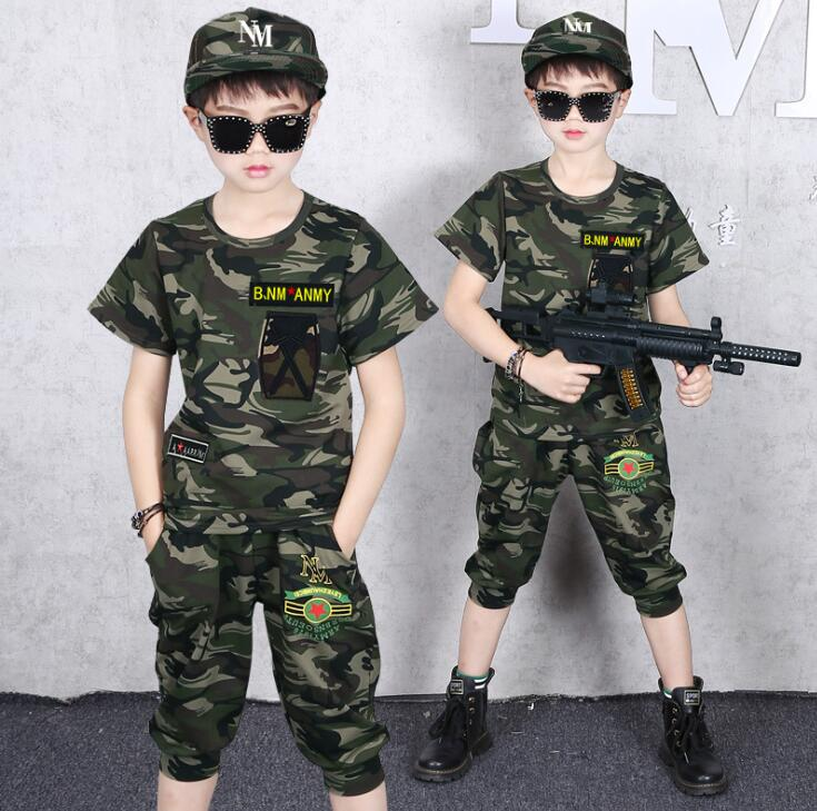 Boys T-Shirt Shorts Army Camo Zip Pocket Top Outfit Summer Set 4 to 14 Years