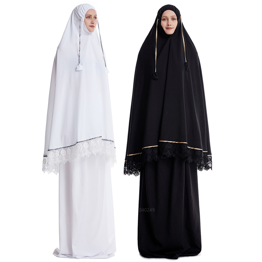 Muslim Traditional Dress Islamic Clothing Kaftan Ramadan Abaya Turkey For Women Middle East 2PCs Prayer Maxi Robe Full Cover