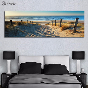 4YANG Canvas Paintings Wall Art Landscape Paintings Modern Beach Abstract Picture for Home Living Room Decor No Frame Painting