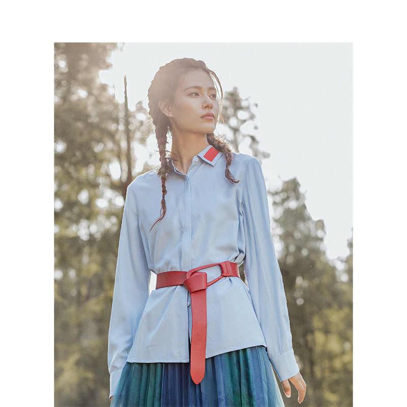 をインマン秋冬新到着ルース薄型スタイルターンダウン襟アップリケプリント長袖女性因果シャツ