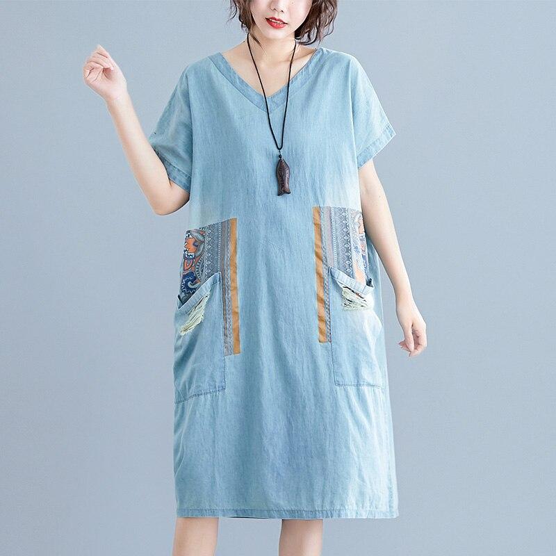 #2467 летнее винтажное джинсовое платье, женское винтажное платье миди с v образным вырезом, сексуальное свободное платье с большими карманами и принтом в стиле ретро, платье с короткими рукавами| |   | АлиЭкспресс