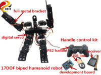 Wireless Control 17DOF Metal RC Humanoid Robot Bipedal/Walking Robotic With PS2 Controller Kit DIY For Arduino Free Source Code