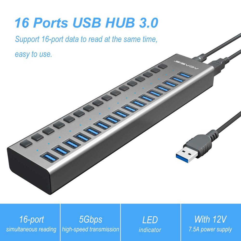 Usb-хаб 3,0 внешний адаптер питания 16 портов usb-хаб Разветвитель переключатель 12 В 7.5A адаптер питания для Mac Tablet PC US EU UK