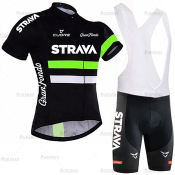 STRAVA Cycling Jersey Men Set Bib Shorts Set Summer Mountain Bike Bicycle Suit Anti-UV Bicycle Team Racing Uniform Clothes 13