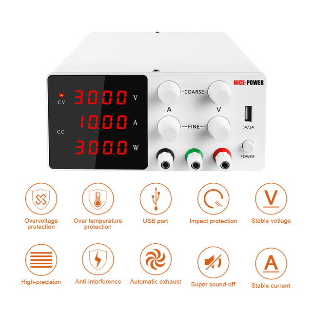 4 Digits Current regulator LED DC Laboratory Power Supply Adjustable Accurate Regulated Voltage Regulator Switching Bench Source