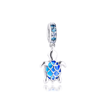 Murano Glass Sea Turtle Dangle Charm for Bracelets Women 925 Sterling Silver Charm Beads for Jewelry Making Valentine Day valentine s day faux gem peacock shape charm bracelet