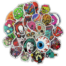 50pcs Terror Mischief Sticker Graffiti Waterproof Skeleton Funny Stickers To Car Travel Suitcase Laptop Skateboard Guitar Fridge 56pcs waterproof sunscreen pvc retro decal labels funny removable car fridge luggage suitcase travel graffiti stickers