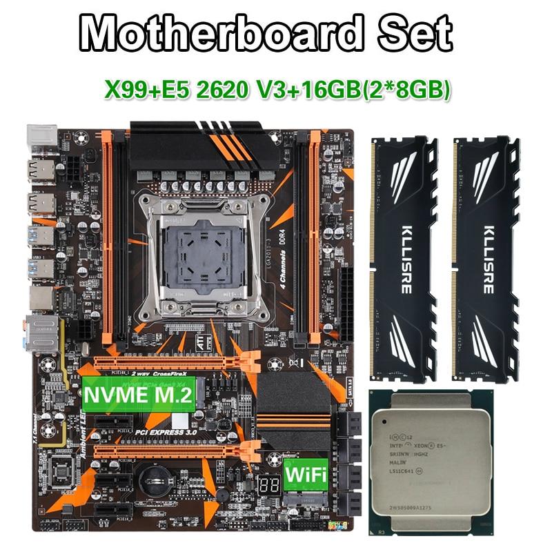 Kllisre X99 D4 motherboard set with Xeon E5 2620 V3 LGA2011-3 CPU 2pcs X 8GB =16GB 2666MHz DDR4 memory(China)