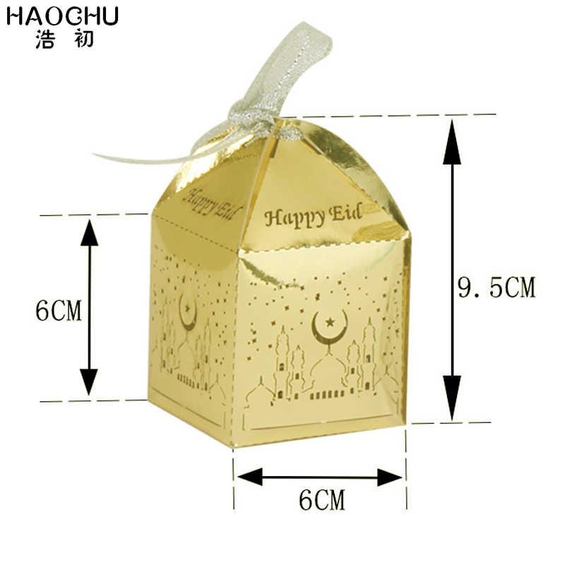 50 pçs feliz eid mubarak caixa de doces ramadan decorações de festa ouro caixas de presente de papel de prata muçulmano festival decoração do evento suprimentos