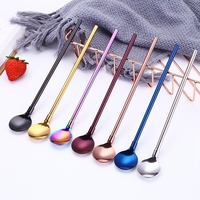 10 Pcs/Set Straw Spoon Reusable Stainless Steel Drinking Spoons Straw with Brush for freeze Drink Smoothies Sundaes Ice Cream|Coffee Scoops| |  -