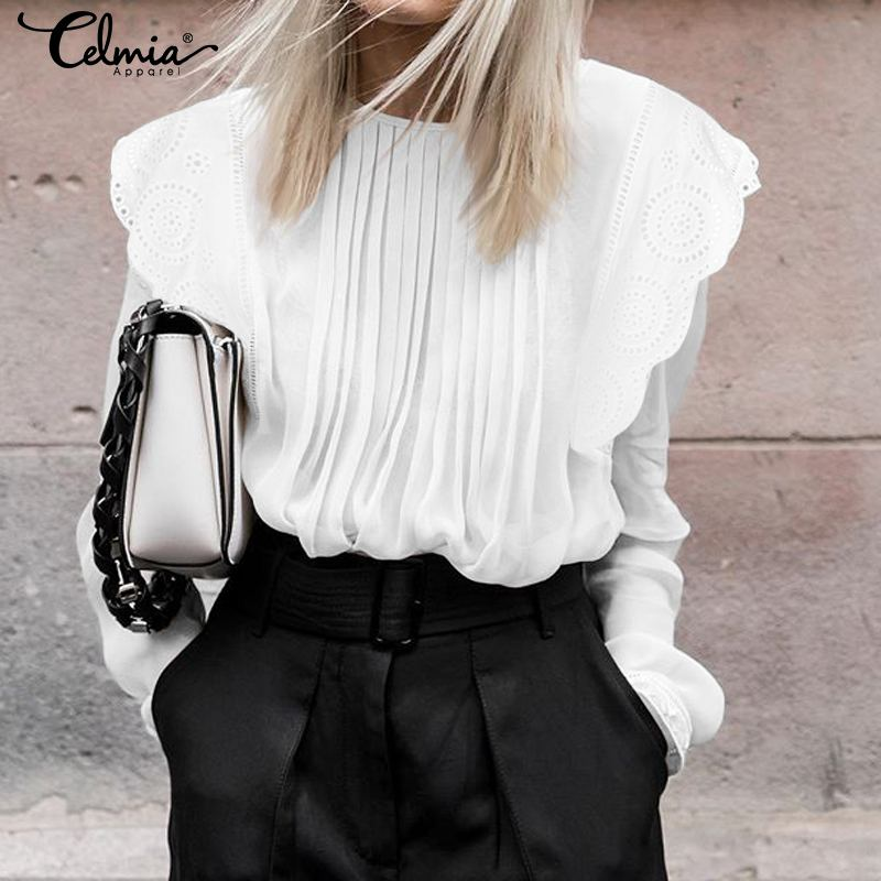 Women Eyelet Embroidered Ruffles White Blouses Lace Shirts Celmia 2019 Autumn Elegant Long Sleeve Pleated Casual Loose Tops 5XL