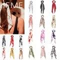 WENN MICH Mode Korean Floral Print Scrunchies Solide Lange Haar Band für Frauen Charms Pferdeschwanz Elastische Haar Band Haar Zubehör