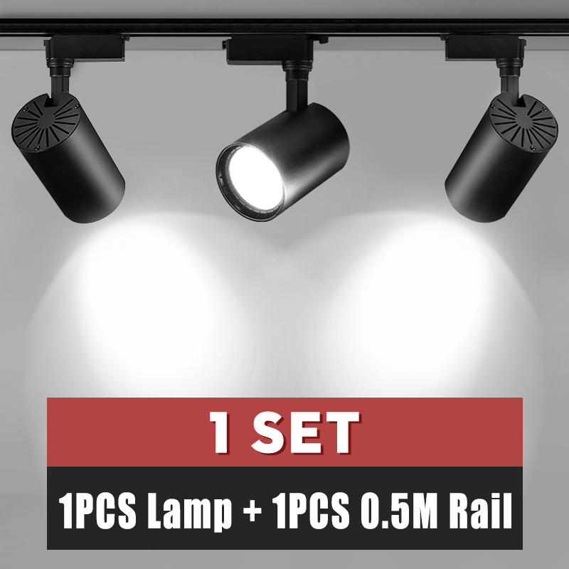 Whole Set COB Led Track Light Lamp Fixture Pendant Led Spotlight Ceiling Light 12W 20W 30W Track Lighting 220V Clothing Store