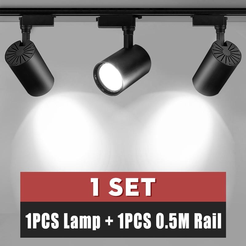 Whole Set COB Led Track Light Lamp Fixture Pendant Led Spotlight Ceiling Light 12W 20W 30W Track Lighting 220V Clothing Store