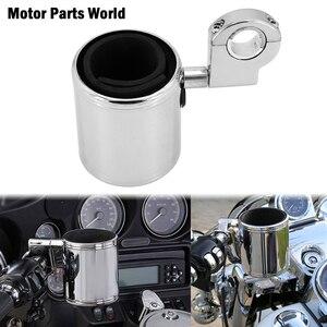Image 1 - 범용 오토바이 조정 가능한 컵 홀더 크롬 핸들 바 크래시 바 홀더 할리 Softail 투어링 FLHX Dyna Sportster XL