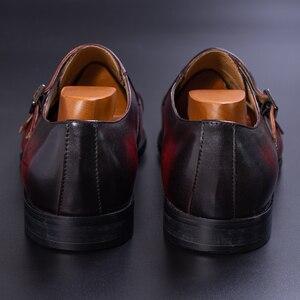 Image 5 - Prawdziwej skóry męskie buty wizytowe ręcznie brązowy kolor czerwony biuro biznes Oxford Cap Toe trzy klamry pasek styl włoski buta