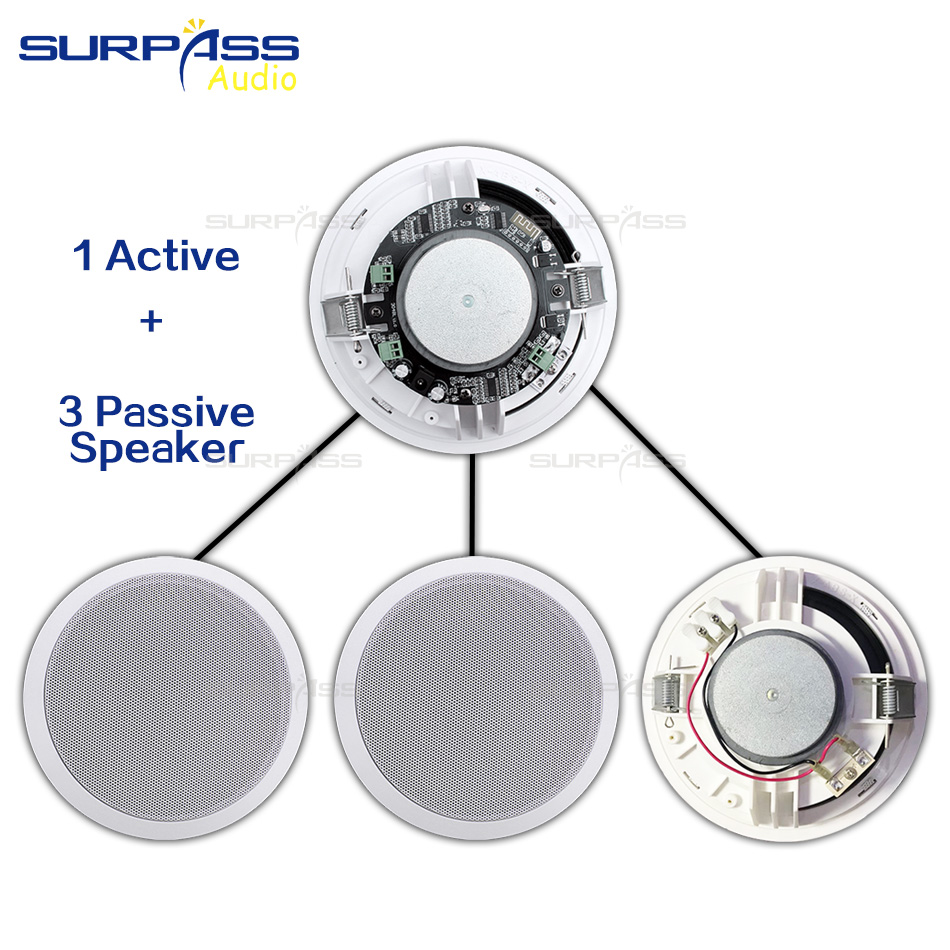 4PCS Power Output Wall Mounted In-Ceiling Speakers Digital Smart Home Audio Loundspeaker Stereo Music Player Active Ceiling SPK 2