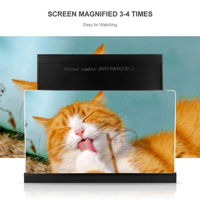 3D אוניברסלי מסך זכוכית מגדלת חכם טלפון נייד מגבר עם מתקפל מחזיק מעמד עבור צפייה בסרטים וידאו (שחור)