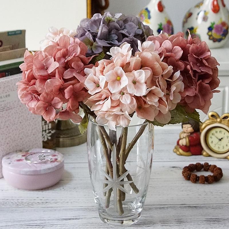 1 Bundle Silk Hydrangea Autumn Vase for Home Decor Christmas Decorative Wedding Bridal Bouquet Wall Set Artificial Flowers Cheap 1