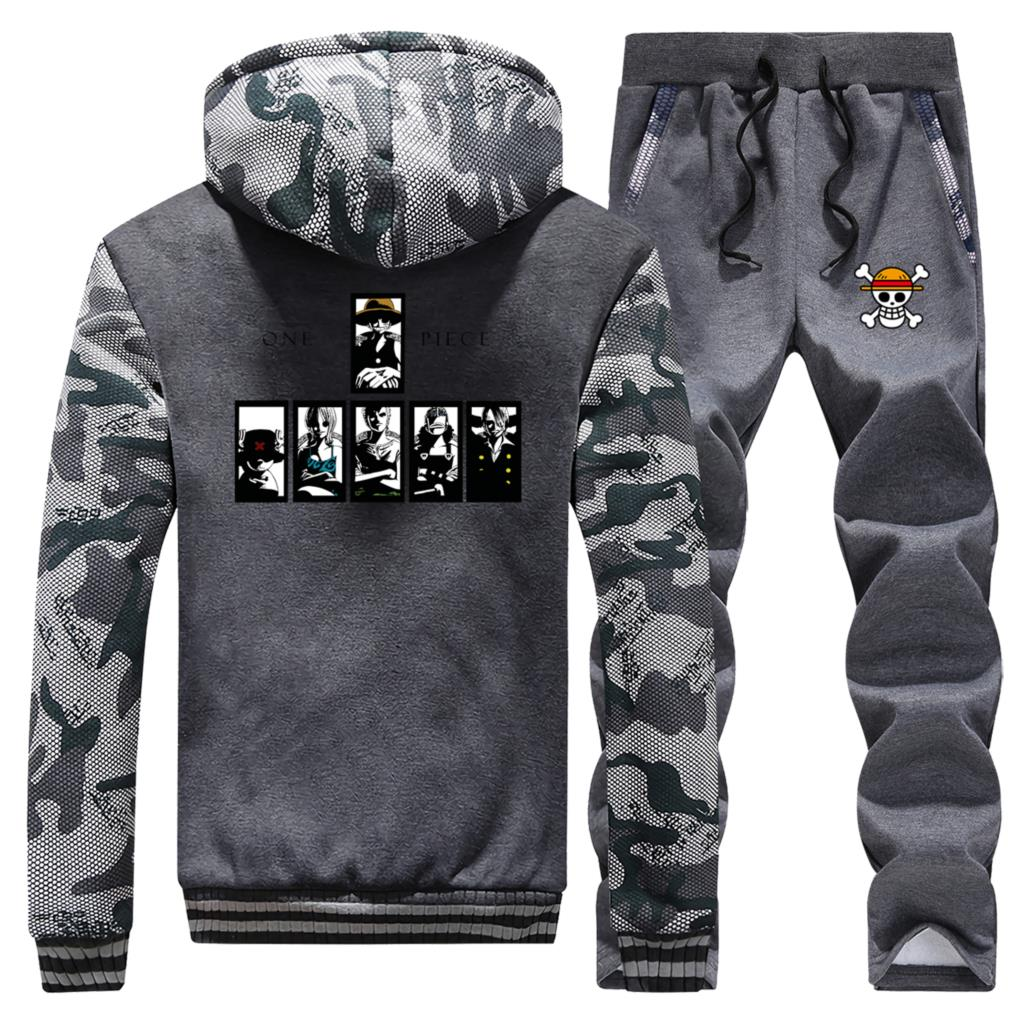 Camouflage Thick Hoodies Anime One Piece Mens Sweatshirt+Pants 2 Piece Sets The Straw Hat Pirates Hoodie Winter Jacket Warm Suit