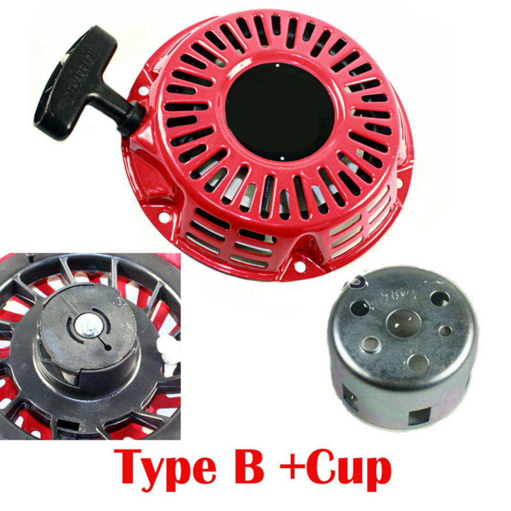 Pull Start <font><b>Starter</b></font> Recoil W/ Cup For <font><b>Honda</b></font> <font><b>GX160</b></font> GX200 5.5HP 6.5HP Generator Replacement 17.3*17.3*4CM image